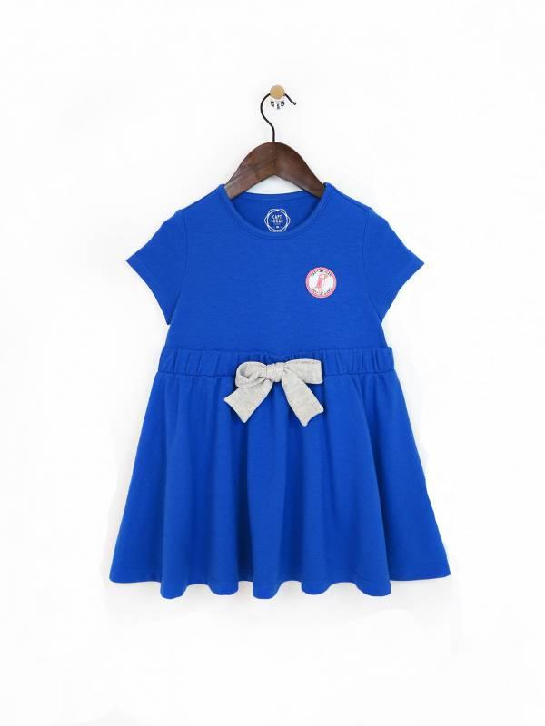 蝴蝶結柔軟傘擺洋裝 藍