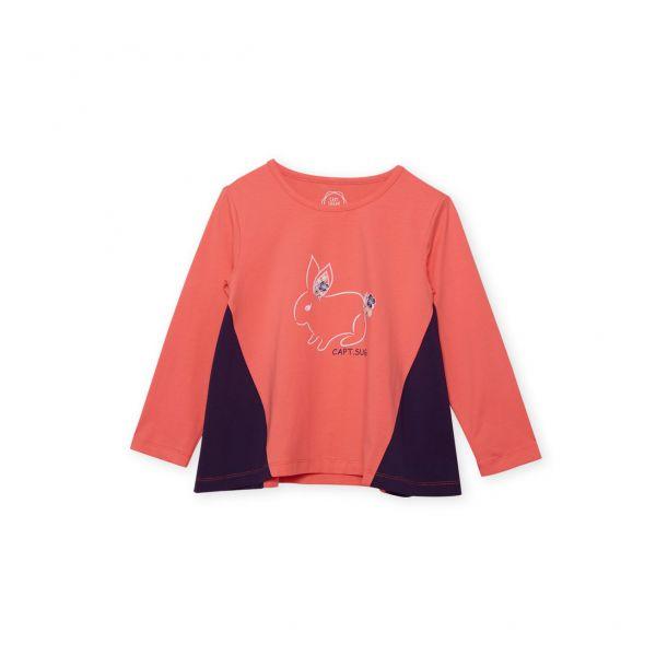 雙布拼接小兔子T恤 橘紅