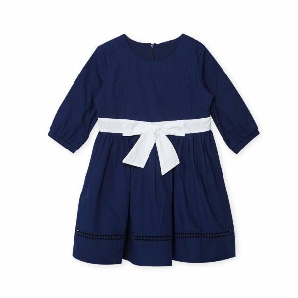 素色蝴蝶綁帶洋裝 藍