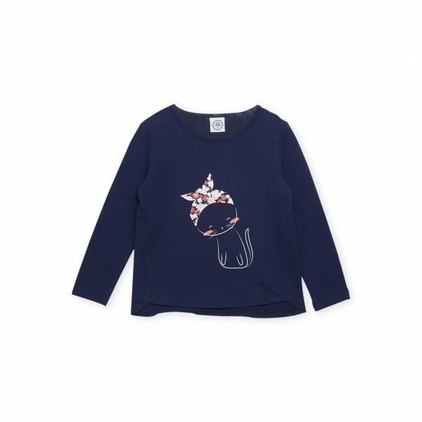 素色小貓休閒T恤 藍