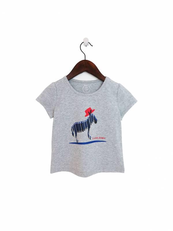 小紅帽斑馬彈性棉質T恤 灰