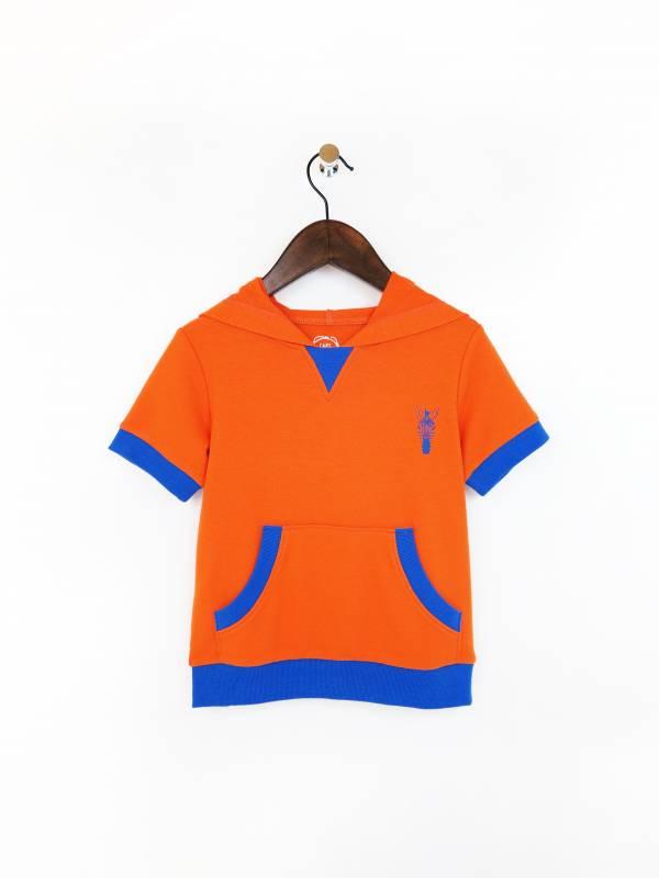 斑馬休閒連帽短袖上衣 橘