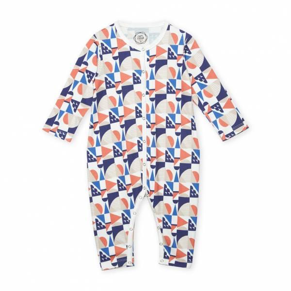 橘色圓形幾何圖形 有機棉有機棉連身衣