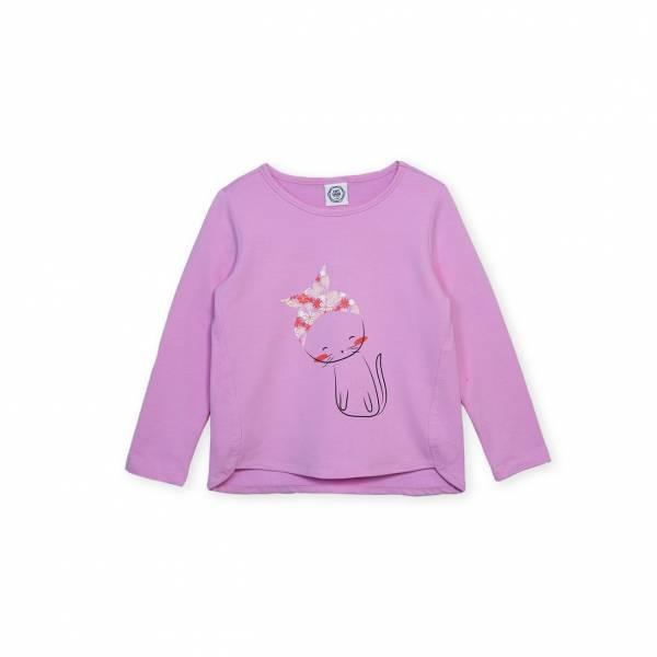 素色小貓休閒T恤 紫
