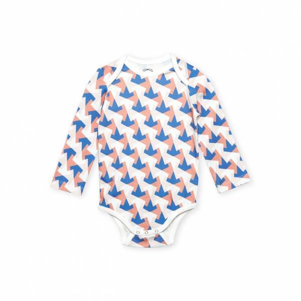 多角幾何圖形 有機棉長袖包屁衣