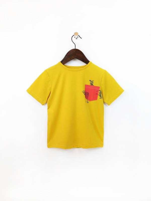 拼色假口袋彈性棉質T恤 黃