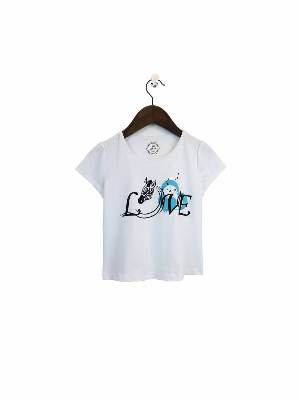 L.O.V.E斑馬愛你彈性棉質T恤 白