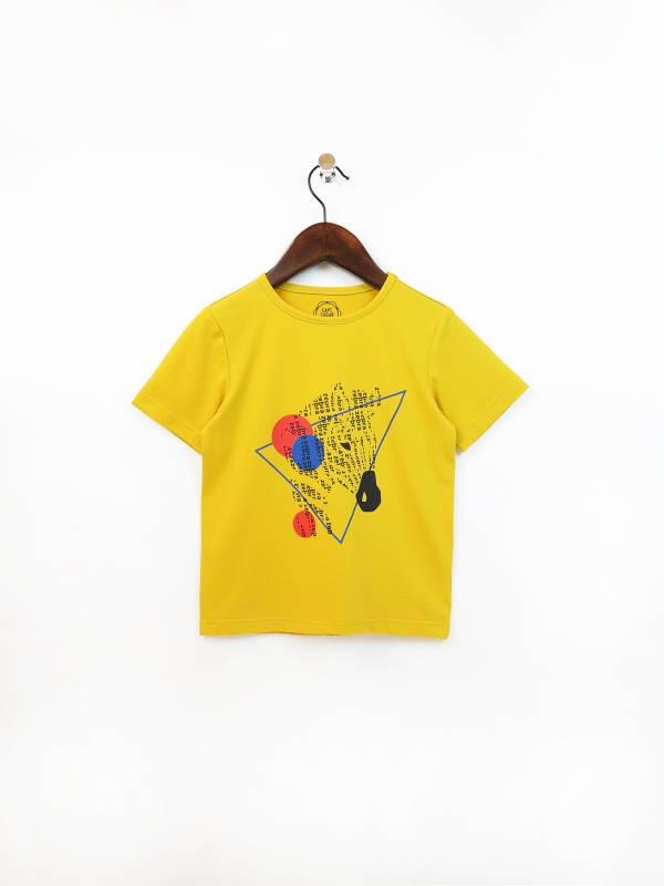 斑馬幾何圖騰彈性棉質T恤 黃