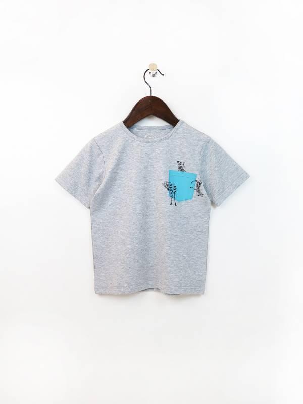 拼色假口袋彈性棉質T恤 灰