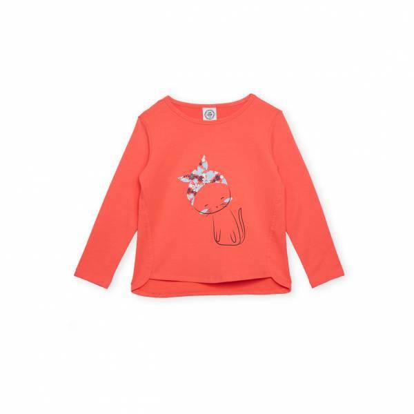 素色小貓休閒T恤 橘紅