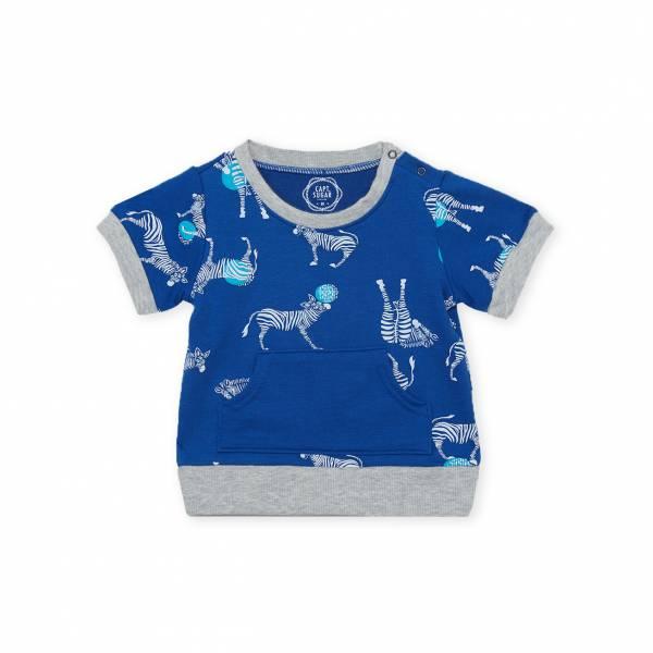 斑馬休閒毛圈短袖上衣 經典藍(嬰)