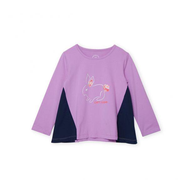 雙布拼接小兔子T恤 紫