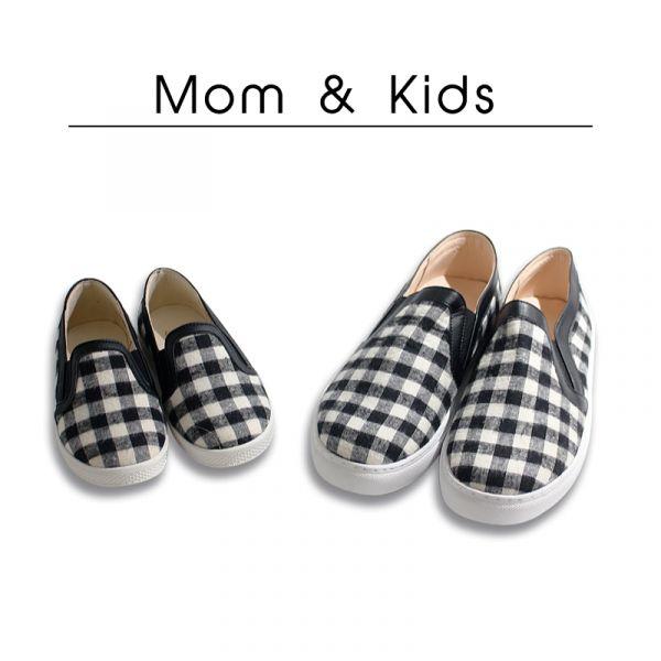 現貨 台灣製親子鞋 格紋布兒童休閒鞋親子鞋-黑色大人 休閒鞋, 台灣製造, 親子鞋