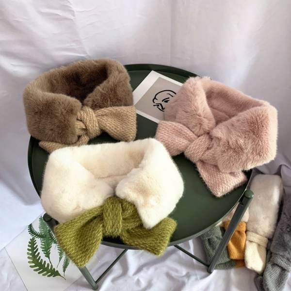 現貨 冬季交叉毛領兒童圍脖-粉色 冬季交叉毛領兒童圍脖,兒童圍巾,保暖圍巾
