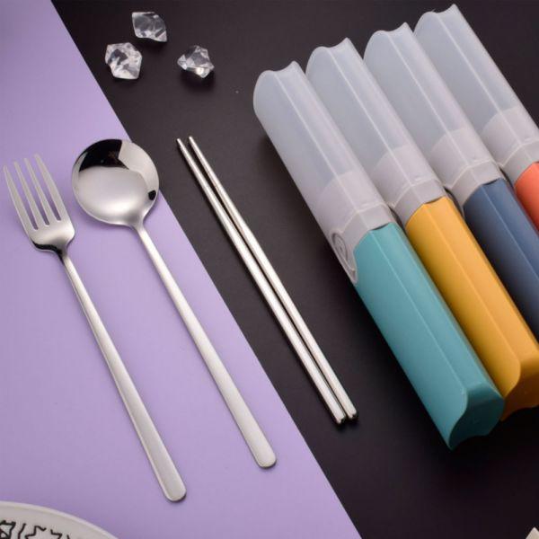 /學生餐具/不鏽鋼環保餐具三件組-共四色