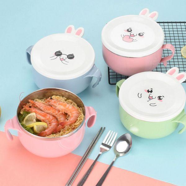 小兔子造型 帶蓋不鏽鋼隔熱碗-共三色