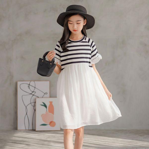 /大童/條紋拼接洋裝 連身裙-共一色