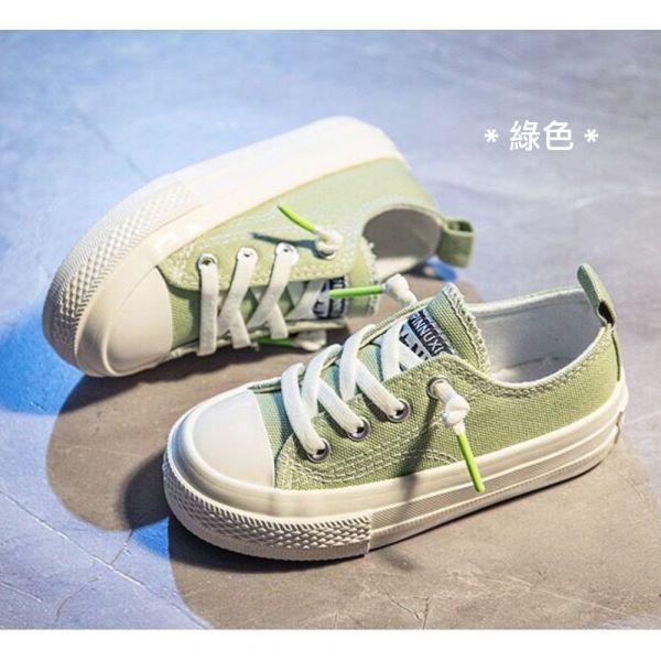 /大童/免綁鞋帶休閒帆布鞋-綠色