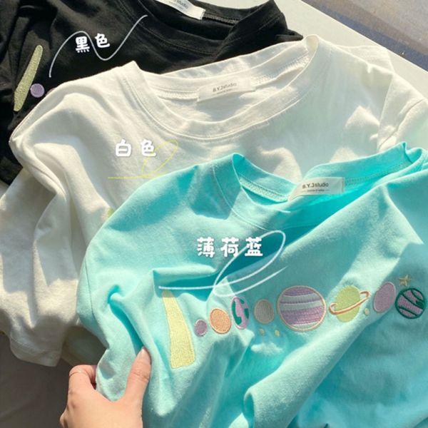 /大人/韓版行星刺繡短袖T恤-共三色