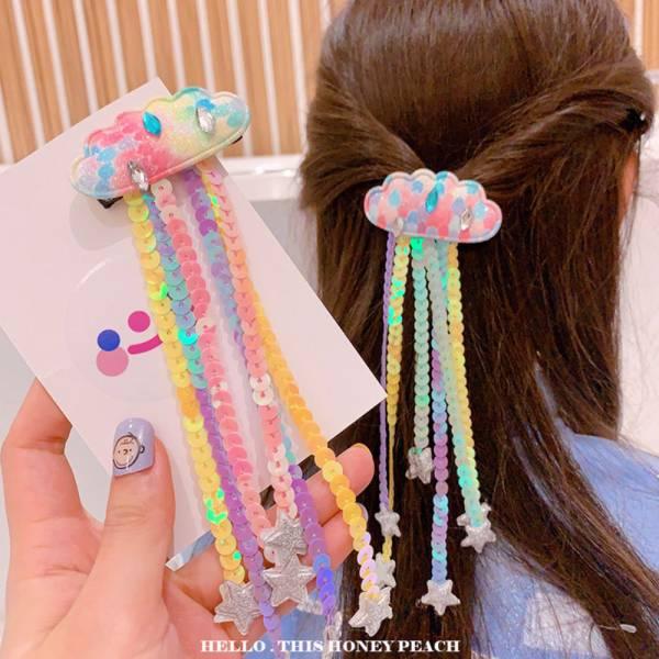 現貨 彩色亮片雲朵髮夾-共兩色 彩色亮片雲朵髮夾,韓國髮夾,女童髮夾