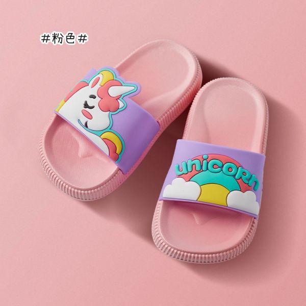 /中童/可愛獨角獸 防滑防水拖鞋-粉色