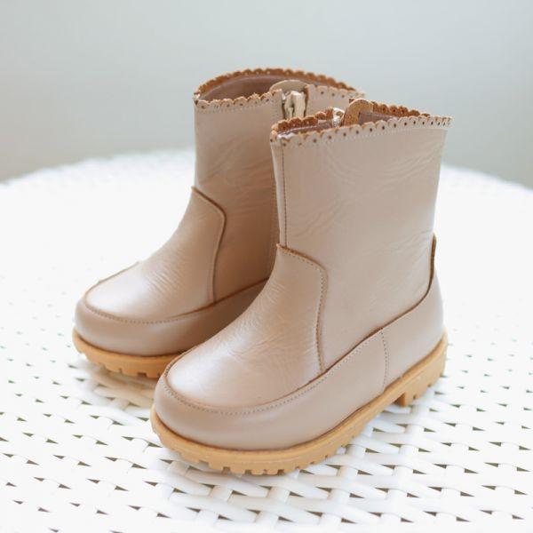 現貨 台灣製花邊女童真皮短靴-粉卡 台灣製,真皮短靴,Little Garden,時尚童鞋,女童靴子