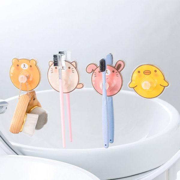動物圖案 無痕黏貼牙刷架 掛勾-一組四個 動物圖案掛勾,無痕黏貼牙刷架,浴室掛勾,動物牙刷架,無痕掛勾
