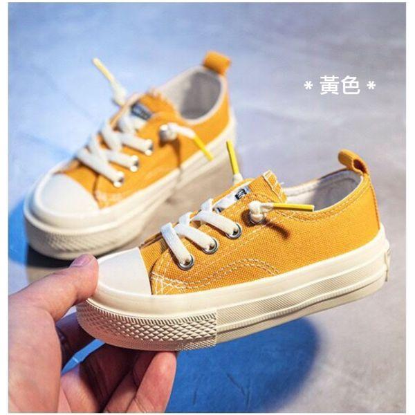 /大童/免綁鞋帶休閒帆布鞋-黃色