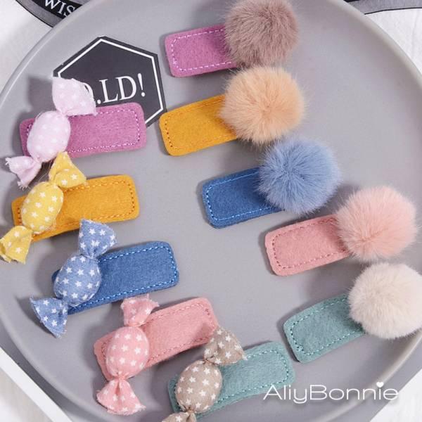 現貨 兒童飾品 糖果和毛球兩件組髮夾-共五色 兒童飾品兒童,髮夾,韓國兒童飾品
