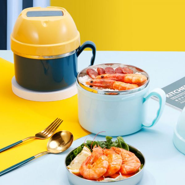 不鏽鋼隔熱碗帶蓋 附折疊湯匙-共四色