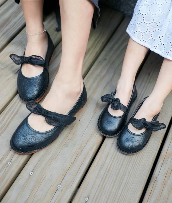 現貨 台灣製親子鞋 啾啾蝴蝶結娃娃鞋-黑色大人 台灣製親子鞋,真皮娃娃鞋