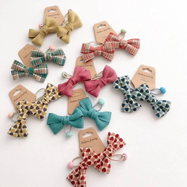 兒童飾品 蝴蝶結髮圈-共八色