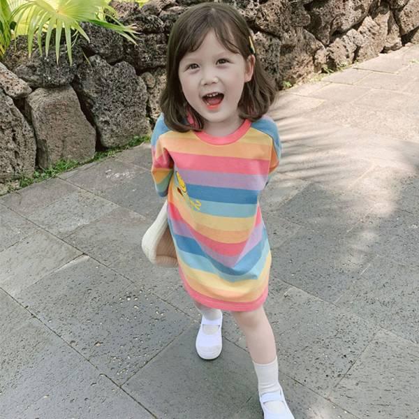 夏日繽紛 寬條紋長版裙T-共一色