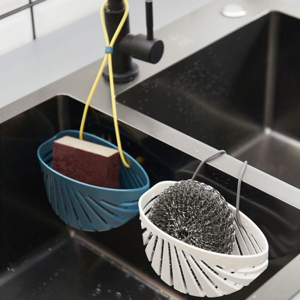 廚房好物 貝殼型掛繩瀝水收納籃-共兩色