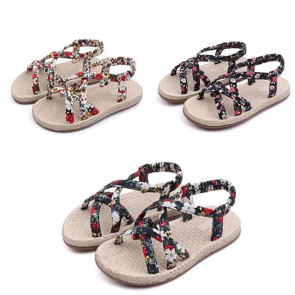 現貨 小碎花編織防滑涼鞋-白色 小碎花編織防滑涼鞋,女童防滑涼鞋,兒童編織涼鞋