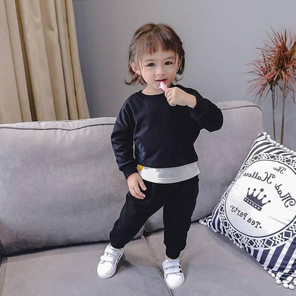 現貨 薄款毛圈運動風休閒棉質長袖套裝-黑色 運動風套裝,休閒棉質長袖套裝