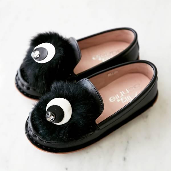 現貨親子鞋 毛毛眼球女童娃娃鞋-黑色 女童娃娃鞋,台灣製造,親子鞋