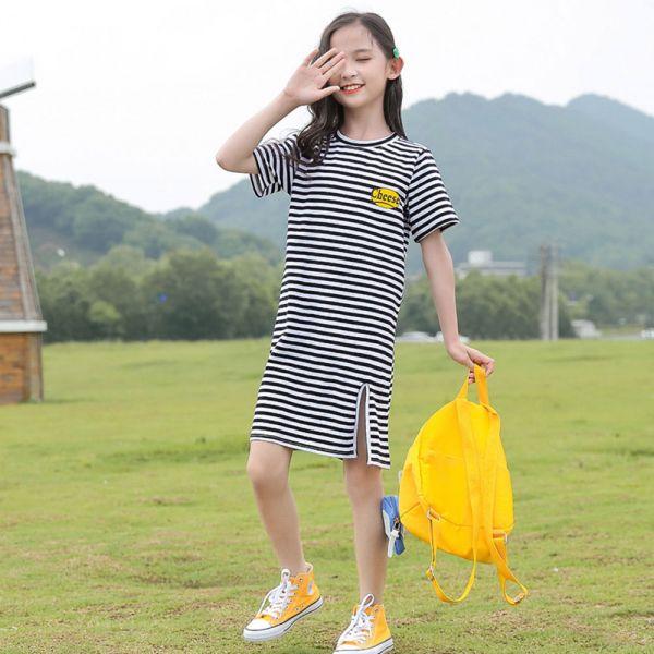 /大童/休閒條紋長版裙T-共一色