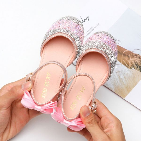 /大童/緞帶蝴蝶結 金蔥包趾涼鞋-粉色