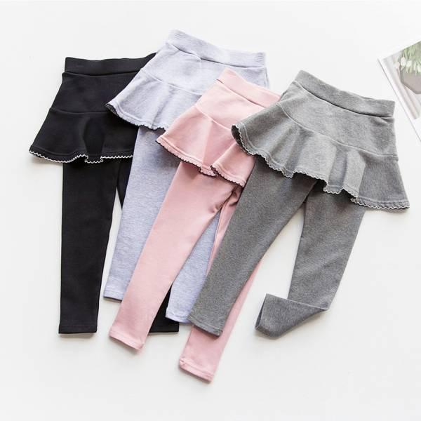 秋款花邊裙假兩件內搭褲-共四色 假兩件內搭褲,女童內搭褲