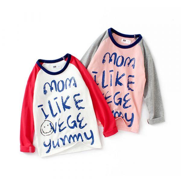 薄款 純棉英文字母長袖T恤-共兩色 兒童長袖T恤,男童長袖T恤,兒童T恤