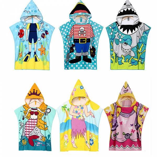 現貨 兒童浴巾 游泳沙灘連帽浴袍-共四色 兒童浴巾,游泳沙灘連帽浴袍
