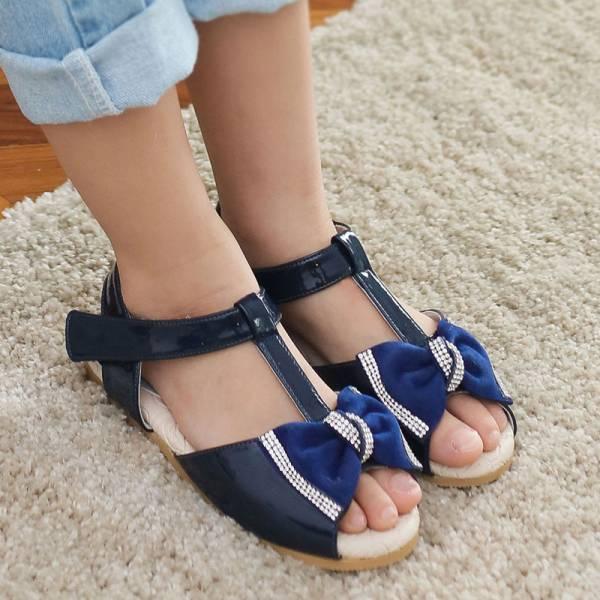 現貨 台灣製亮晶晶蝴蝶結T字涼鞋-深藍色 女童真皮涼鞋,台灣製童鞋,台灣製涼鞋,女童涼鞋,真皮涼鞋