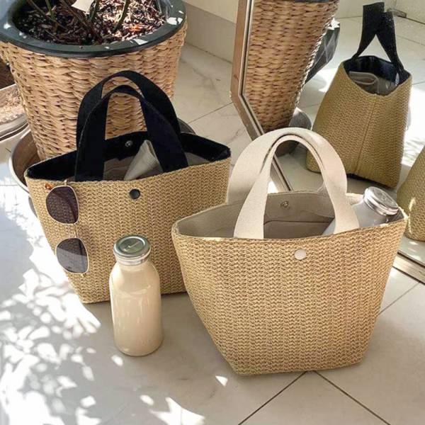 現貨 夏季渡假風仿編織手提包-共兩色