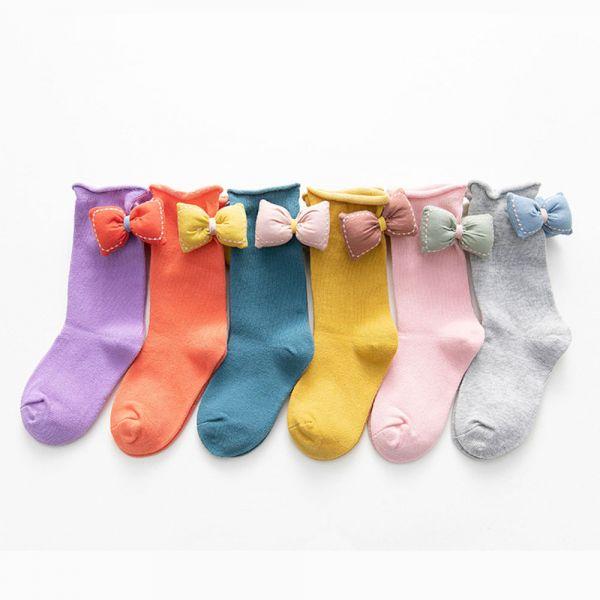 現貨 捲邊立體蝴蝶結中筒襪-共六色 捲邊立體蝴蝶結中筒襪,韓國童襪,女童中筒襪