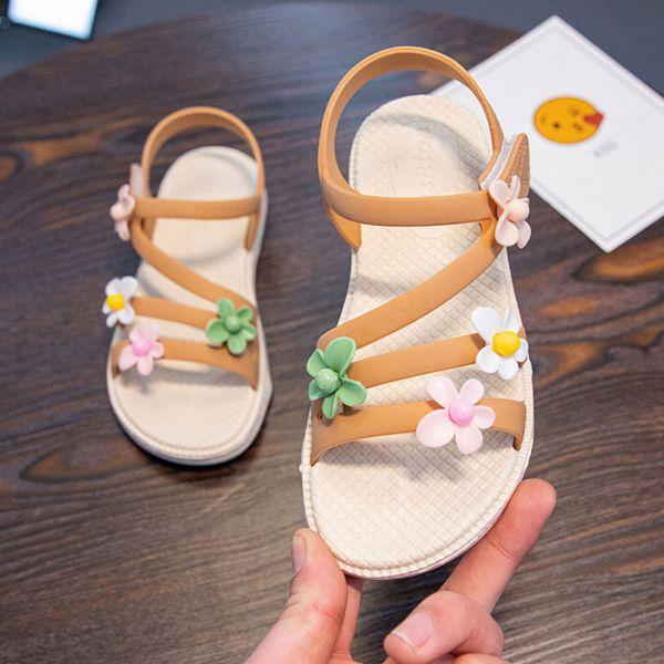 /中大童/小花防水軟底涼鞋-黃色