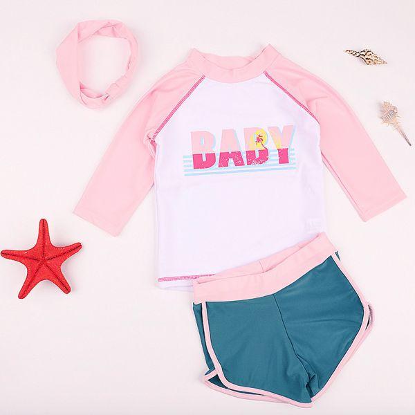 現貨 女童七分袖泳衣泳褲-粉色