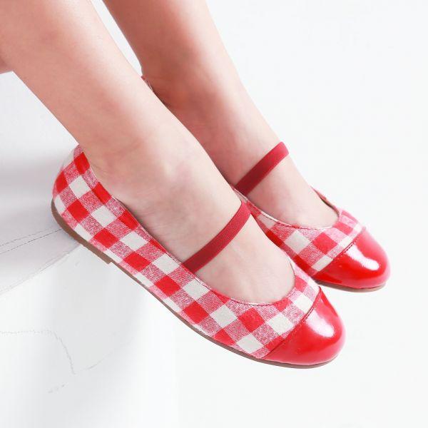 現貨不用等 台灣製造 格紋布女童娃娃鞋-紅色 女童娃娃鞋,台灣製造