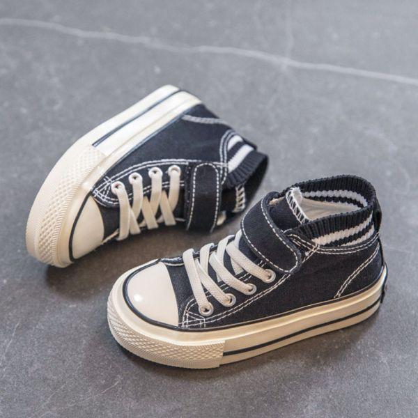 /大童/免綁鞋帶低筒帆布鞋-黑色 兒童低筒帆布鞋,兒童帆布鞋,兒童休閒鞋