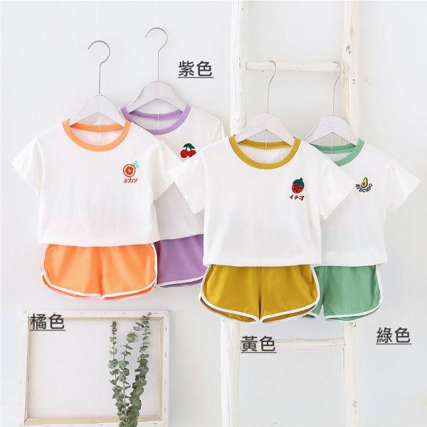 現貨 夏季水果繡花T恤短褲套裝-共兩色